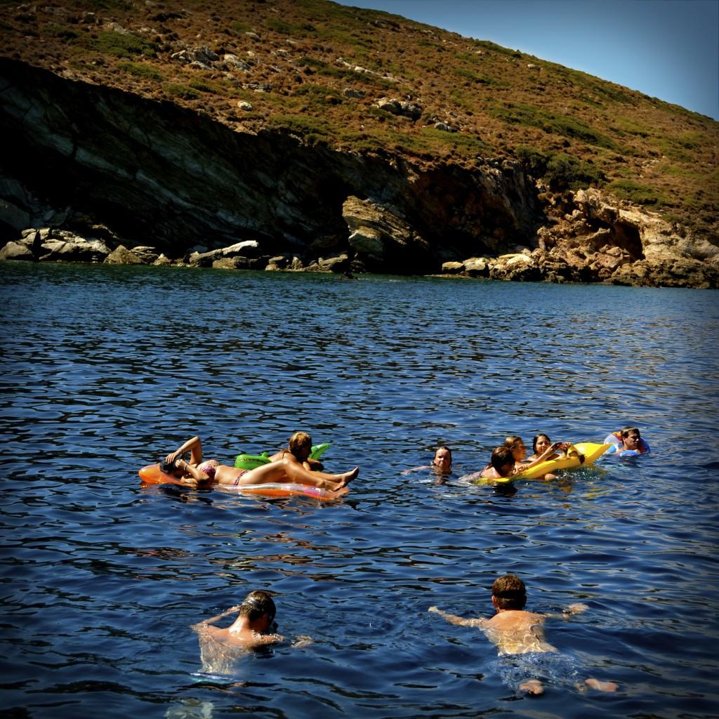 Swimming near the tiny island of Skilli