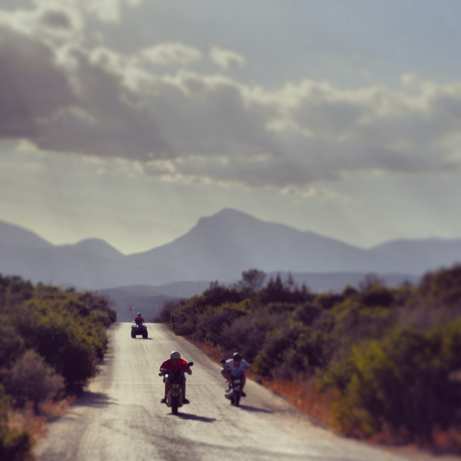 Quad biking - the entire group took to quads & mopeds to explore the beautiful island of Poros