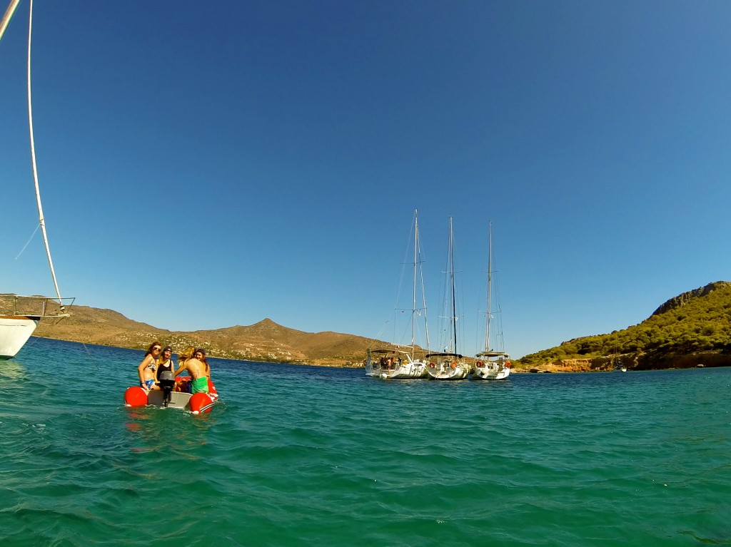 Anchored off a small island for some exploring and a swim with The Big Sail!