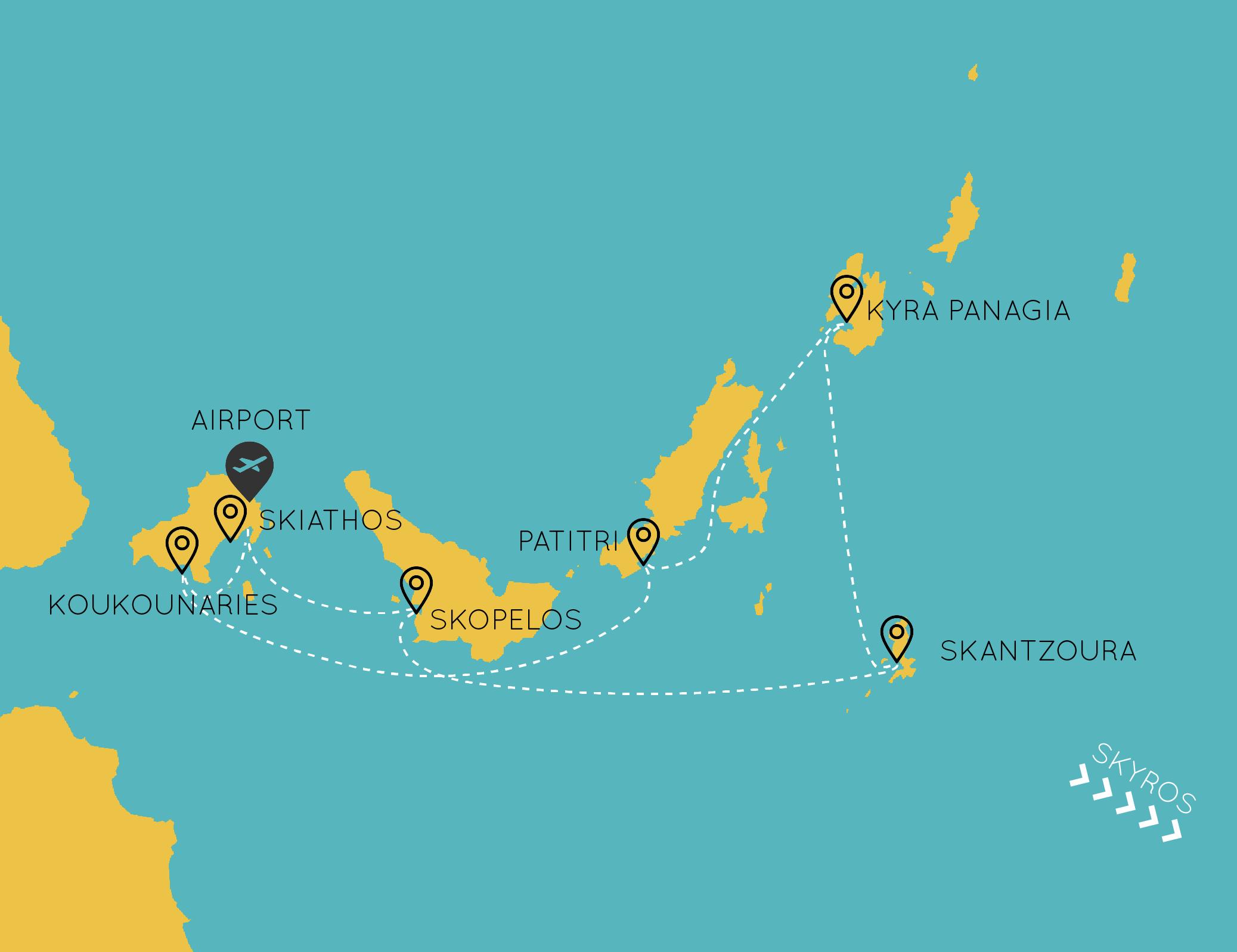 Sporades 7-day sailing itinerary